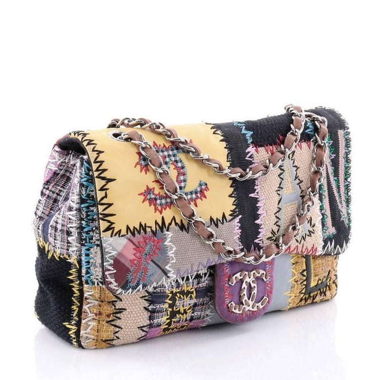 39dbc1816bc7fc Brown Chanel Classic Single Flap Bag Multicolor Patchwork Jumbo For Sale