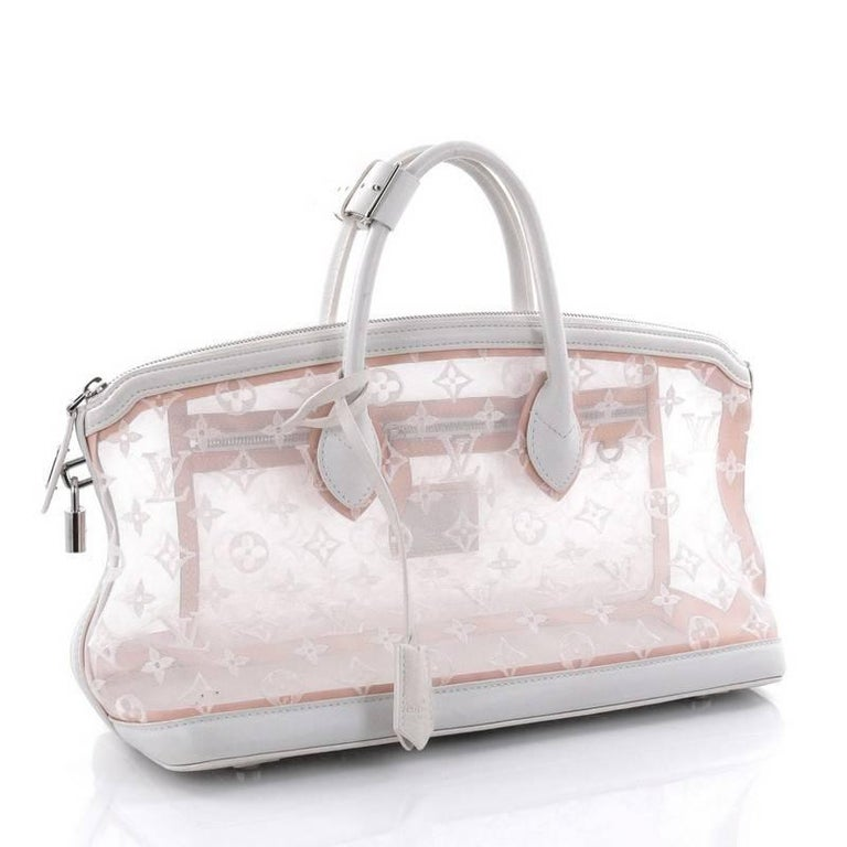 Gray Louis Vuitton Transparence Lockit Handbag Mesh and Leather  For Sale