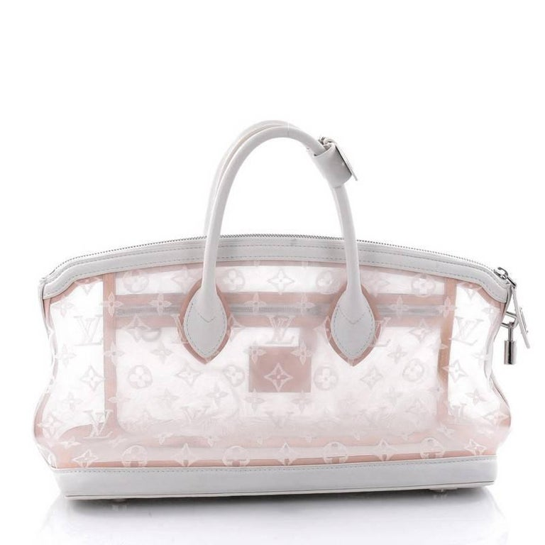 Louis Vuitton Transparence Lockit Handbag Mesh and Leather  In Good Condition For Sale In New York, NY