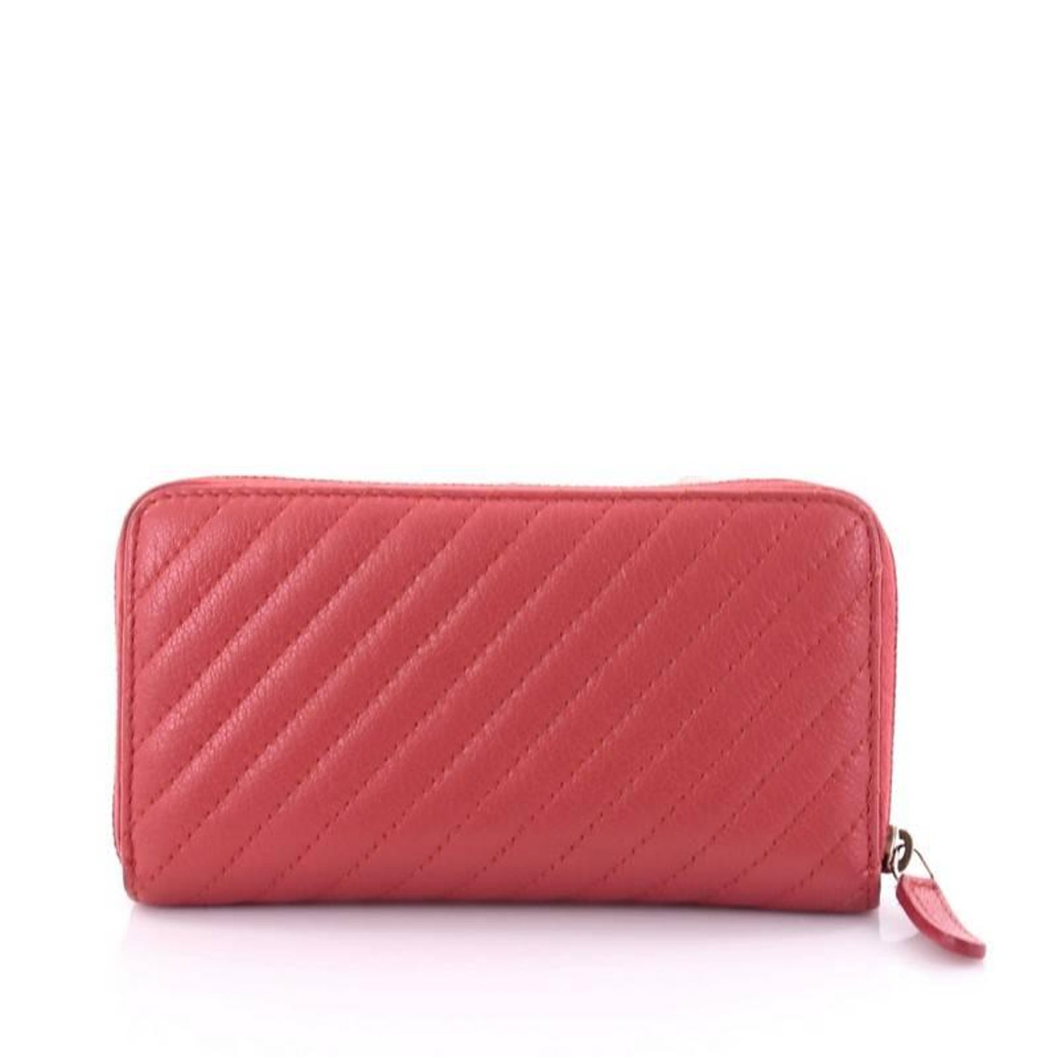 45bdb4af8eb4 Chanel Zip Around Wallet Diagonal Quilted Leather Compact at 1stdibs