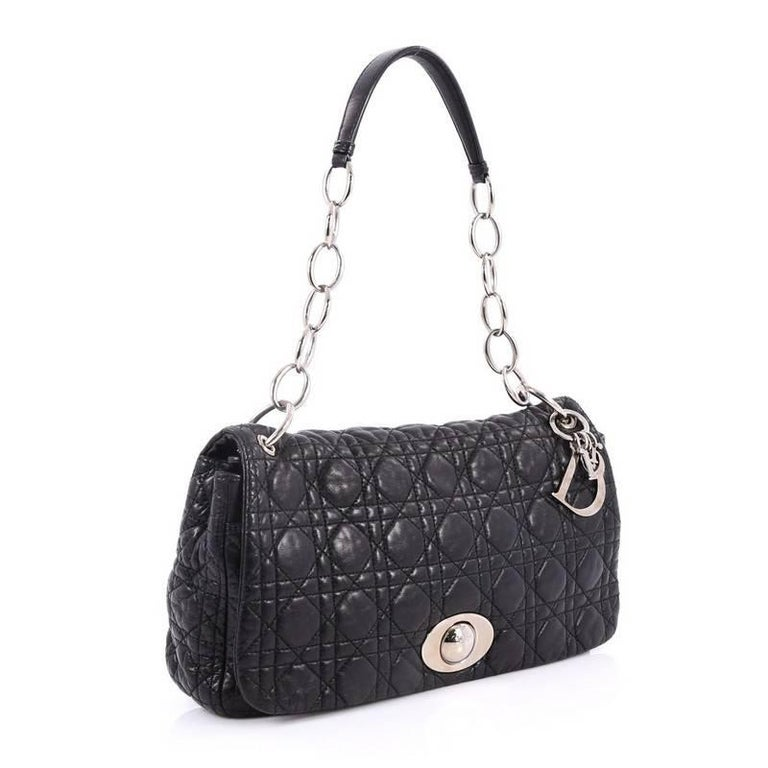 2b9bc0634301 Black Christian Dior Rendez Vous Flap Bag Cannage Quilt Lambskin Medium For  Sale