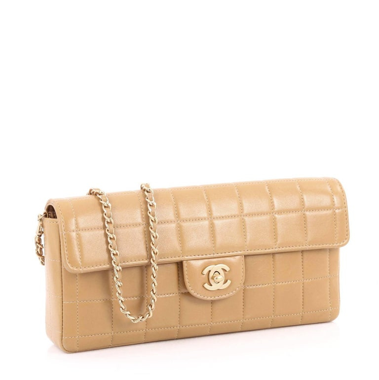 6a6146cf6f1f Beige Chanel Chocolate Bar Flap Bag Quilted Lambskin East West For Sale