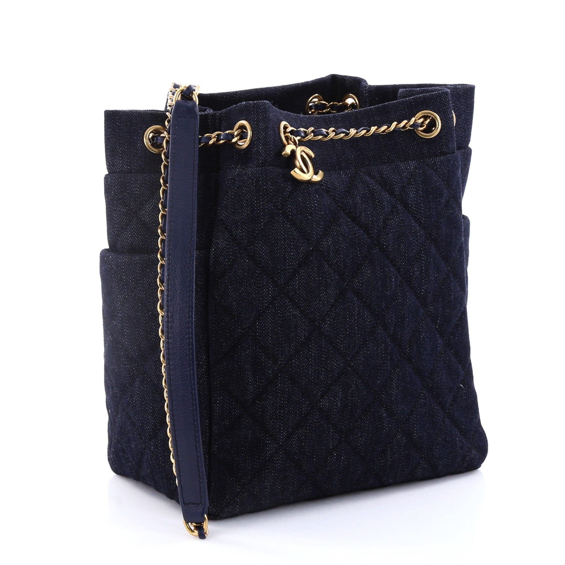 ff76f01a5d93 Chanel Urban Spirit Drawstring Bag Quilted Denim Small at 1stdibs