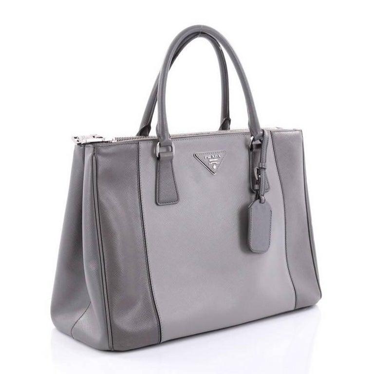 81cbdf279441 Gray Prada Bicolor Double Zip Lux Tote Saffiano Leather Medium For Sale