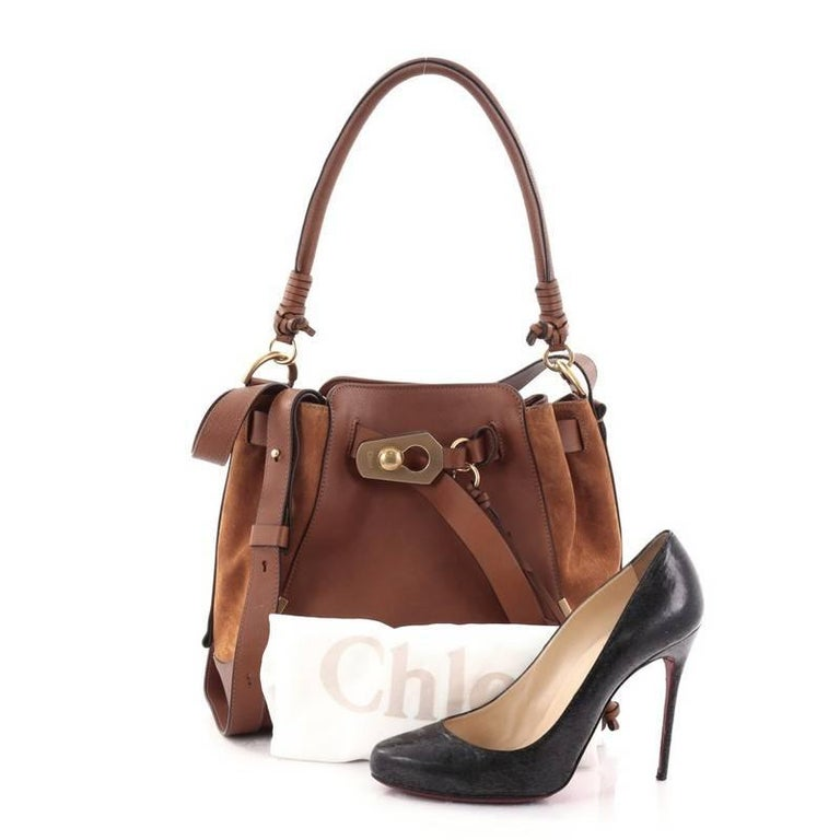 2d634152a6a7 This authentic Chloe Owen Bucket Bag Leather and Suede Medium is a cool and  stylish bag