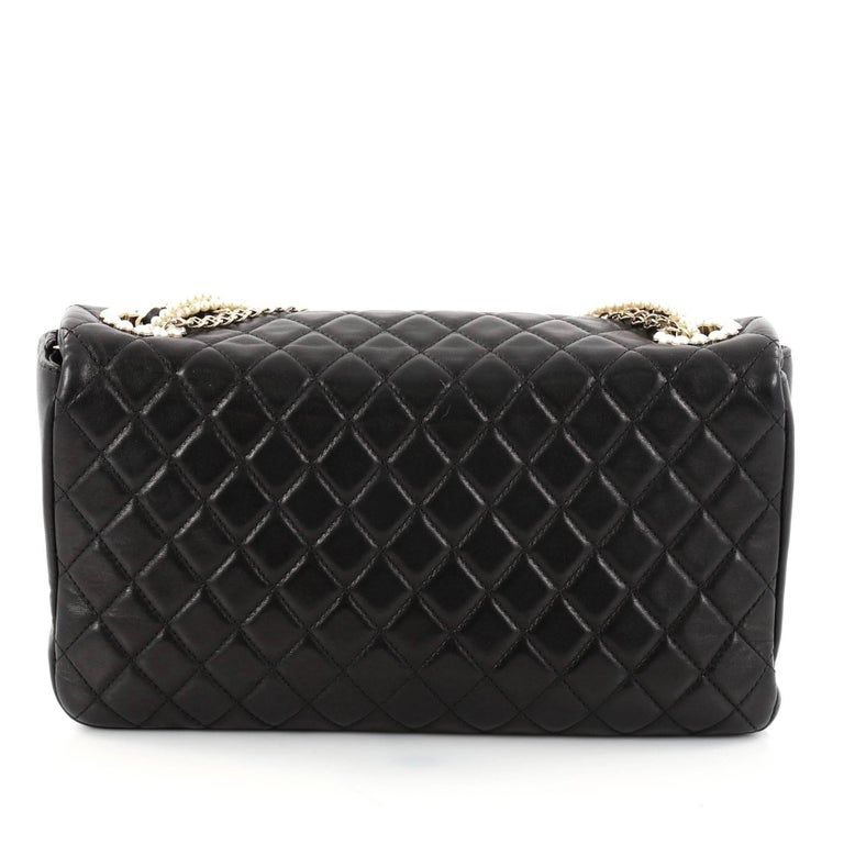 Chanel Westminster Pearl Chain Flap Bag Quilted Lambskin Medium In Good Condition For Sale In New York, NY