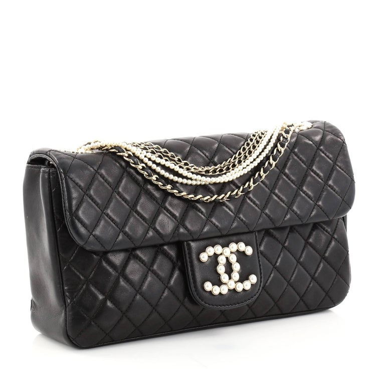 Black Chanel Westminster Pearl Chain Flap Bag Quilted Lambskin Medium For Sale