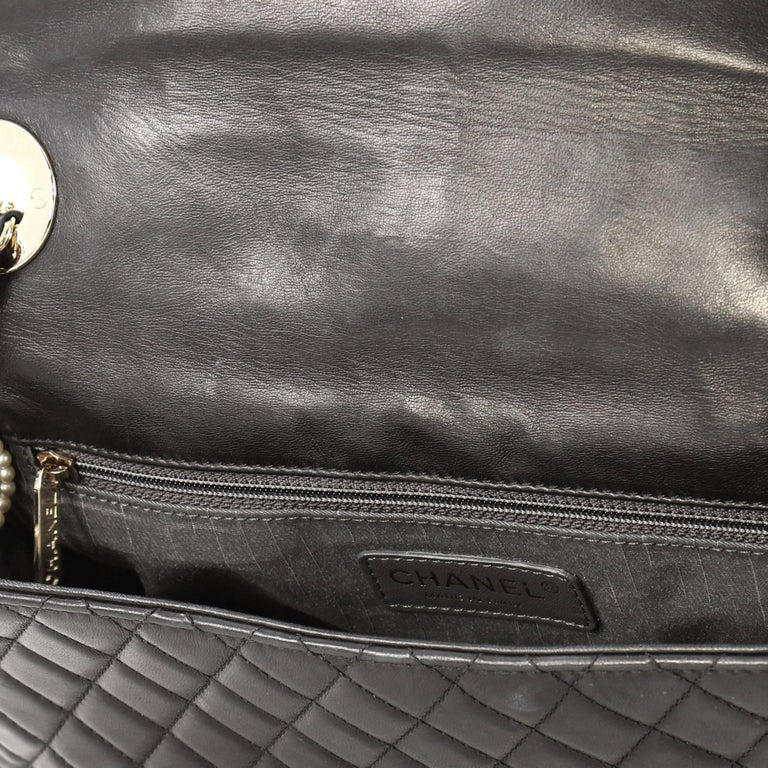 Chanel Westminster Pearl Chain Flap Bag Quilted Lambskin Medium For Sale 2
