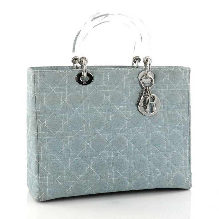27da3d12975 Gray Christian Dior Vintage Lady Dior Handbag Cannage Quilt Denim Large For  Sale