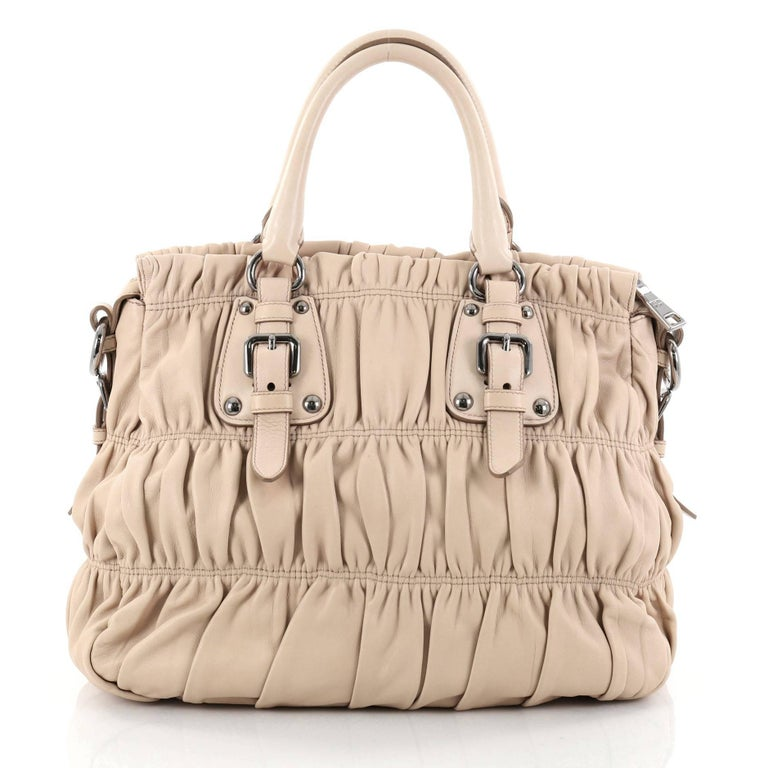 5b9264d8bab3 Prada Gaufre Convertible Tote Nappa Leather Large In Good Condition For  Sale In New York,