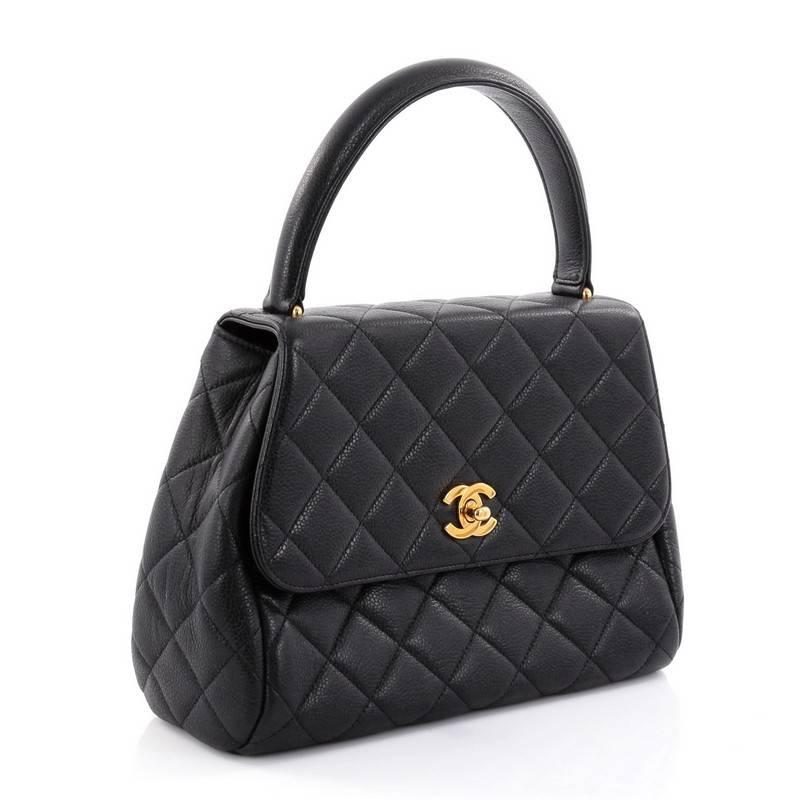 f3fafc877d4 Chanel Vintage Classic Top Handle Flap Bag Quilted Caviar Medium at 1stdibs