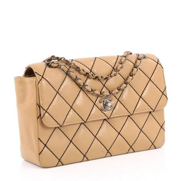eb67003cc08915 Beige Chanel Surpique Flap Bag Quilted Leather Jumbo For Sale