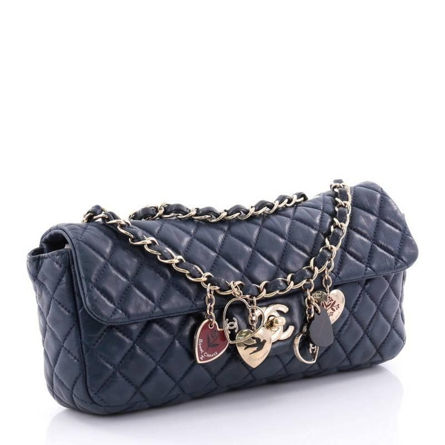 546b91e43800 Chanel Valentine Hearts Flap Bag Quilted Lambskin East West at 1stdibs