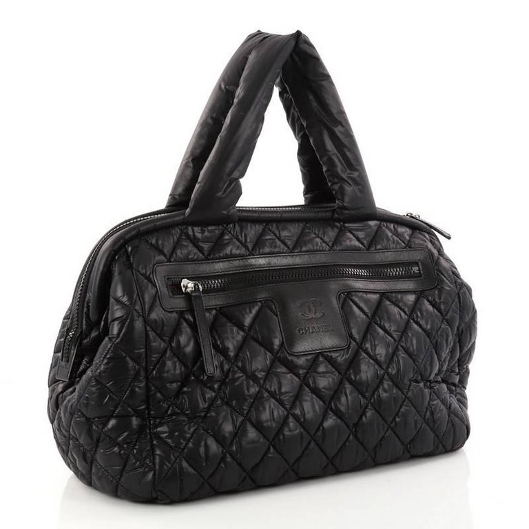 a19a90d460a0 Black Chanel Coco Cocoon Bowling Bag Quilted Nylon For Sale