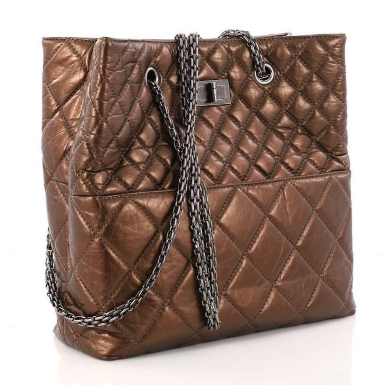 Brown Chanel Reissue Quilted Aged Calfskin Tall Tote  For Sale