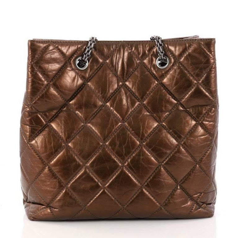 Chanel Reissue Quilted Aged Calfskin Tall Tote  In Good Condition For Sale In New York, NY