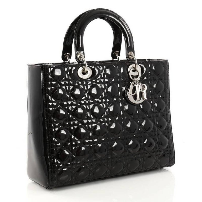 c1c50ad89234 Black Christian Dior Lady Dior Handbag Cannage Quilt Patent Large For Sale