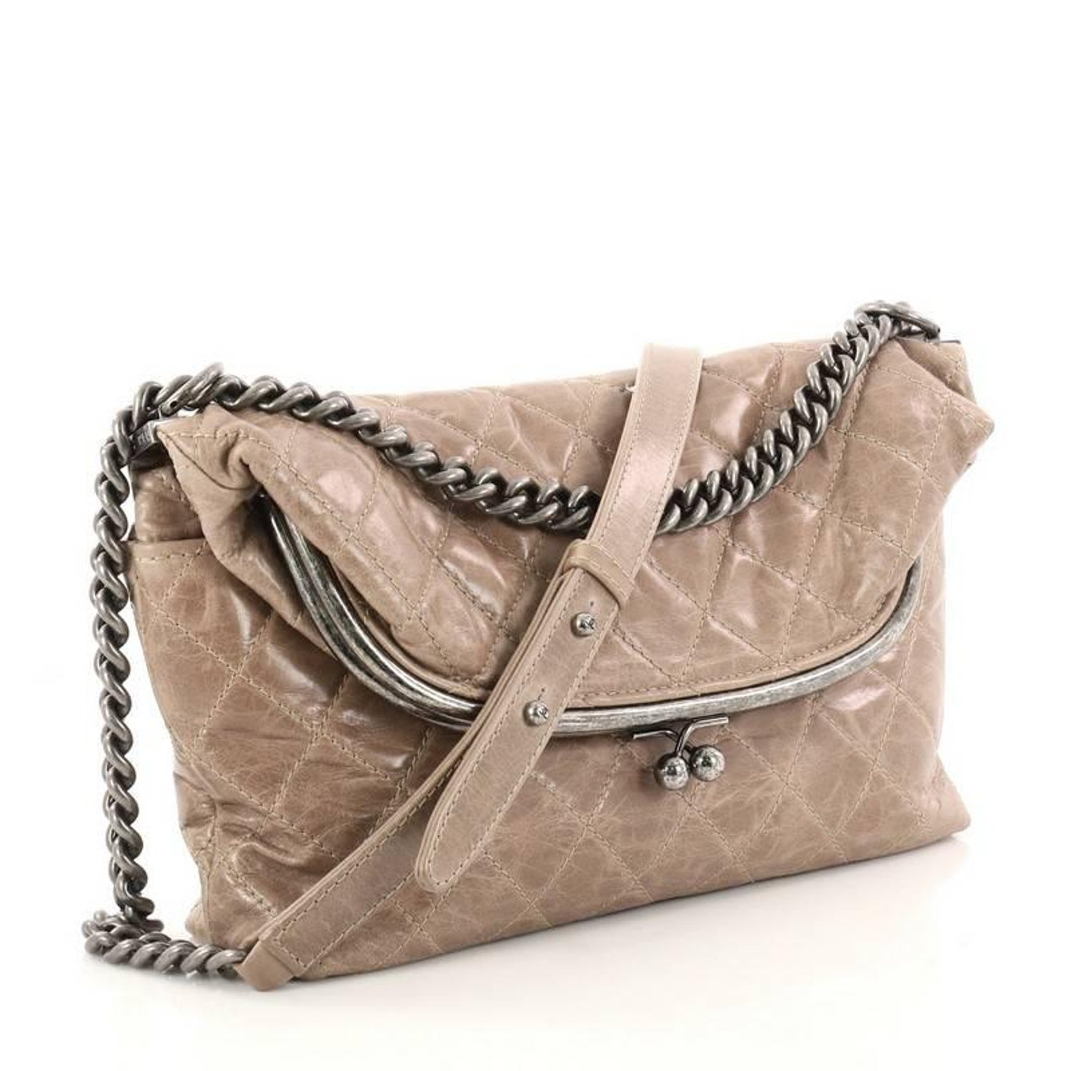 a51c66661ce4 Chanel Tabatiere Kisslock Quilted Aged Calfskin Large Fold Over Bag at  1stdibs