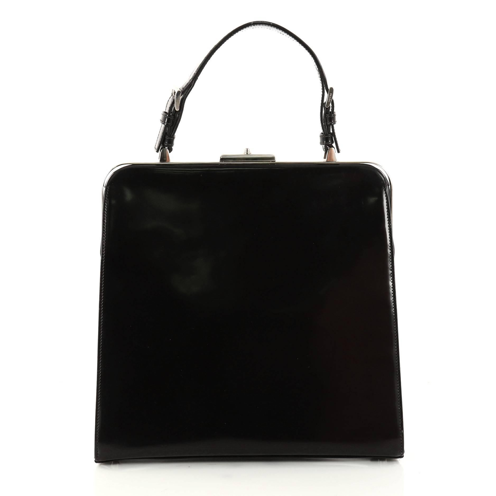 fe0349dc45 Prada Frame Handle Bag Spazzolato Leather Small at 1stdibs
