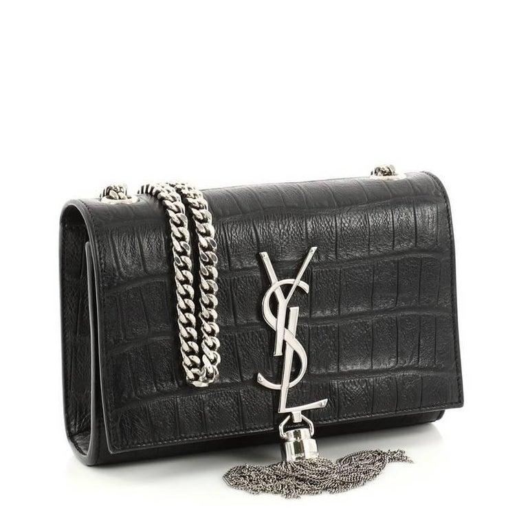 ba1a8dc5a20 Black Saint Laurent Classic Monogram Tassel Crossbody Bag Crocodile  Embossed Leather For Sale