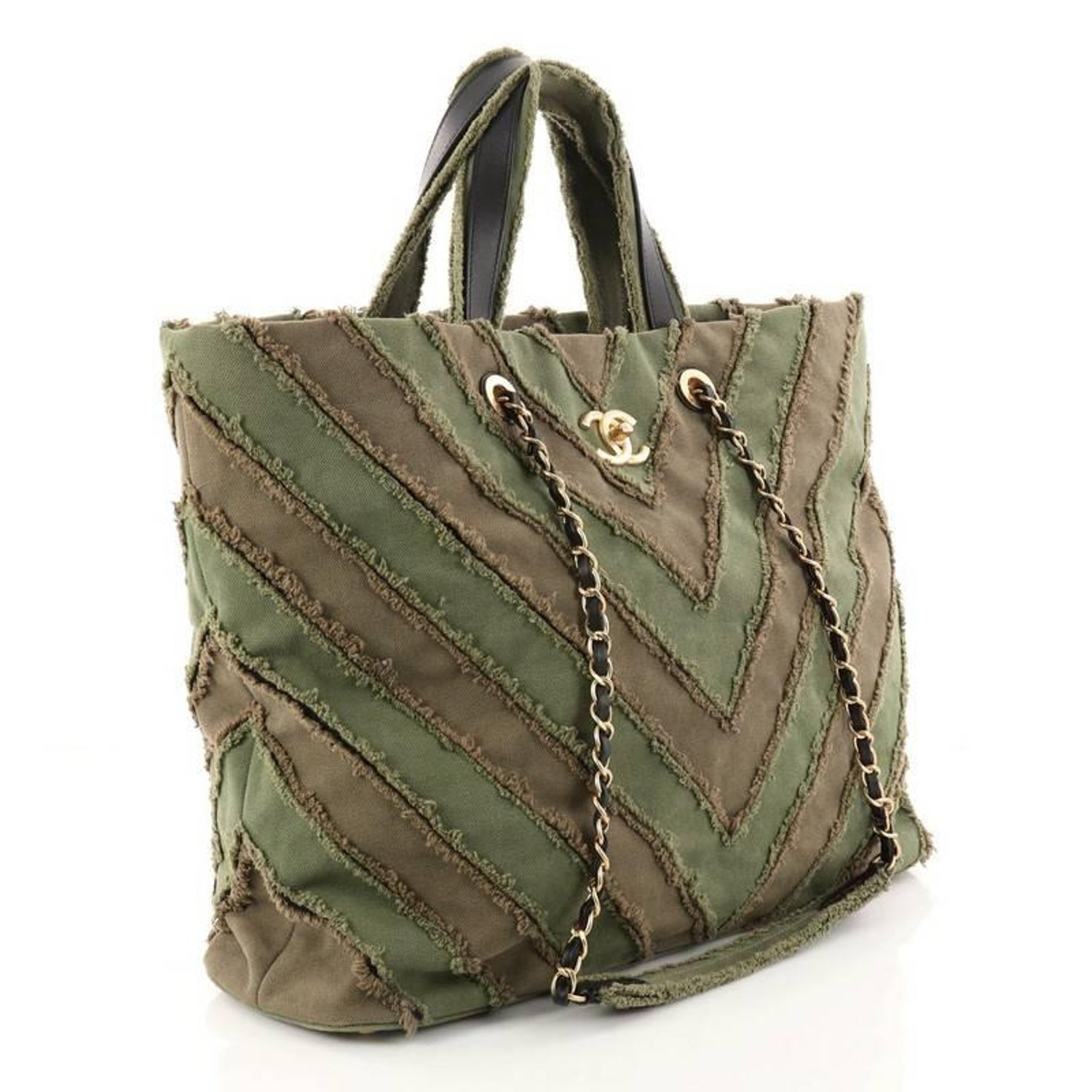 3b24f546ee7c04 Chanel Shopping Tote Chevron Canvas Patchwork Large at 1stdibs