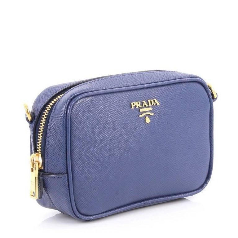 4b1f601468db3f Purple Prada Zip Crossbody Bag Saffiano Leather Mini For Sale