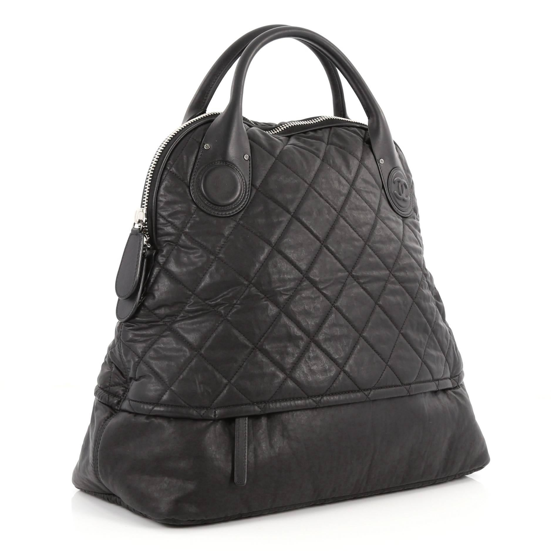 Chanel Vertical Sport Weekender Bag Quilted Coated Canvas Medium At
