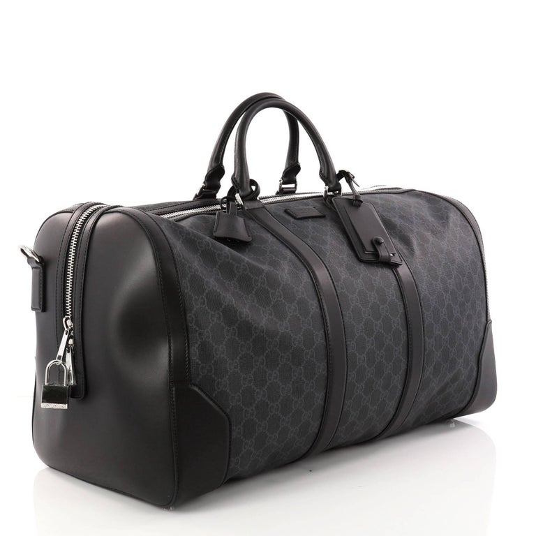 fc9c37878dce Black Gucci Convertible Duffle Bag GG Coated Canvas Large For Sale