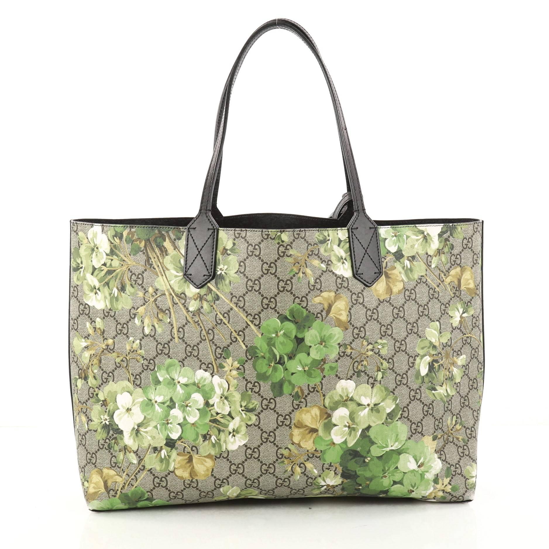 9b12c7d88e1 Gucci Reversible Tote Blooms GG Print Leather Medium at 1stdibs