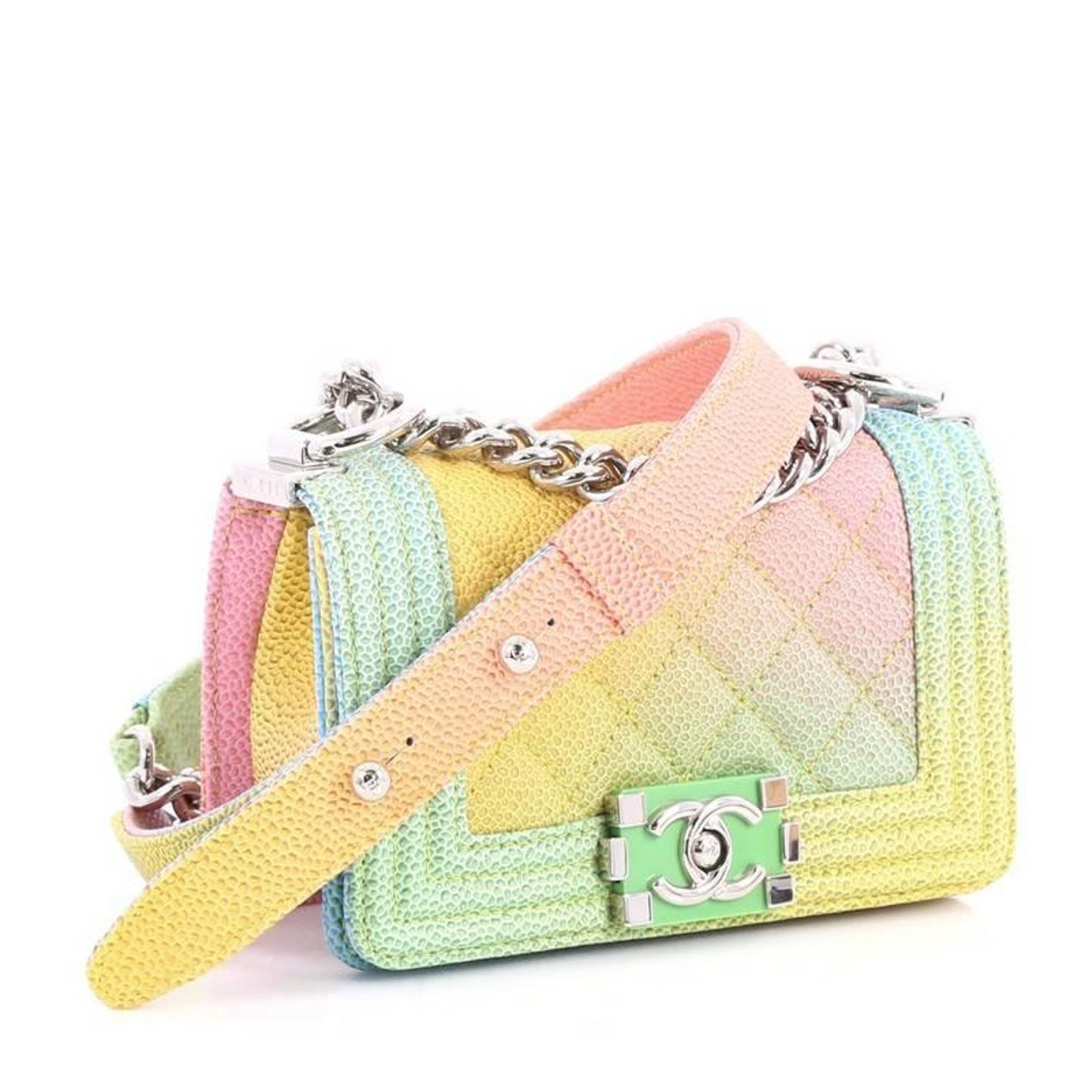 046bc2f5645b Chanel Cuba Rainbow Boy Flap Bag Quilted Painted Caviar Mini at 1stdibs