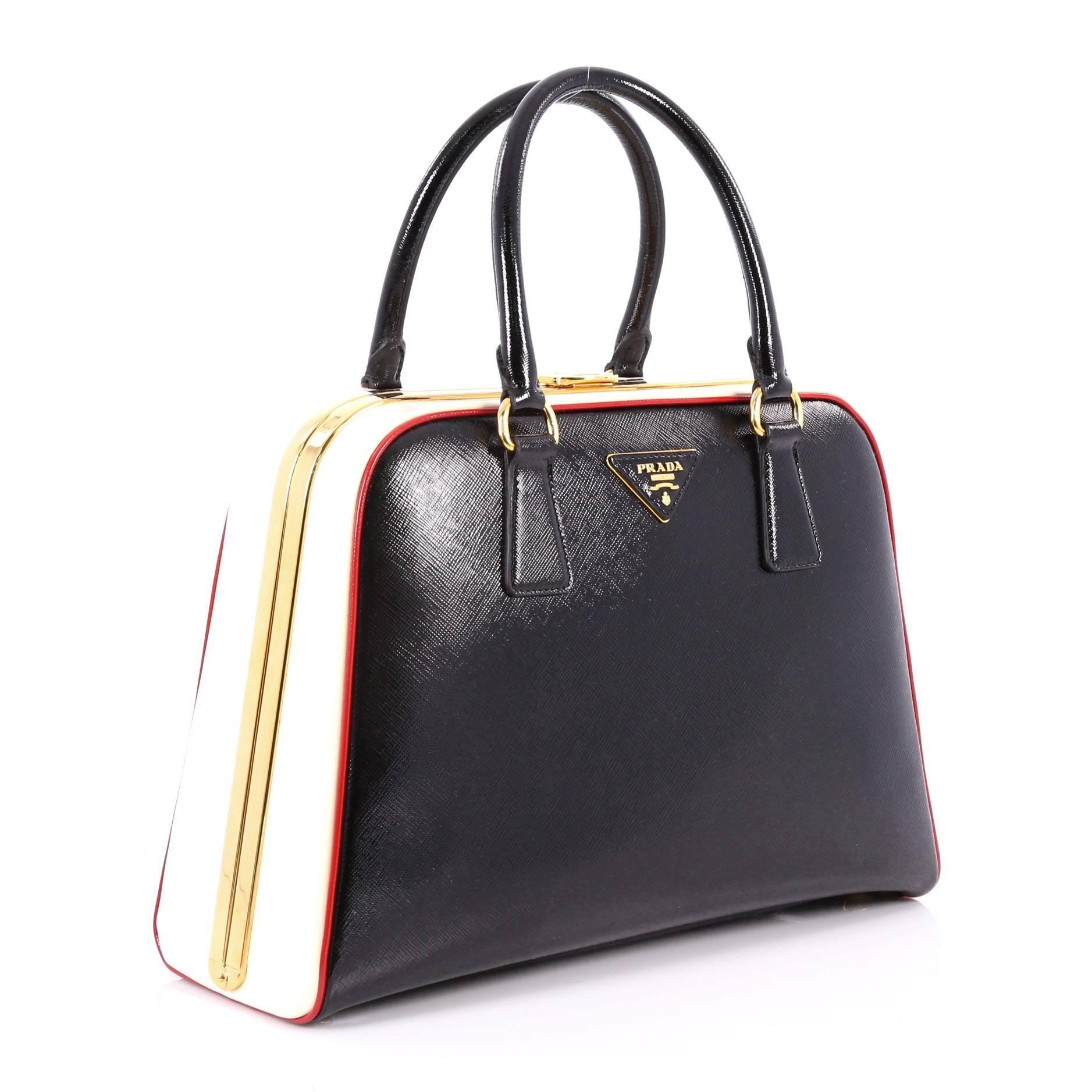03860ffde52f ... cheap black prada pyramid top handle bag vernice saffiano leather medium  for sale 577a1 8e2ac