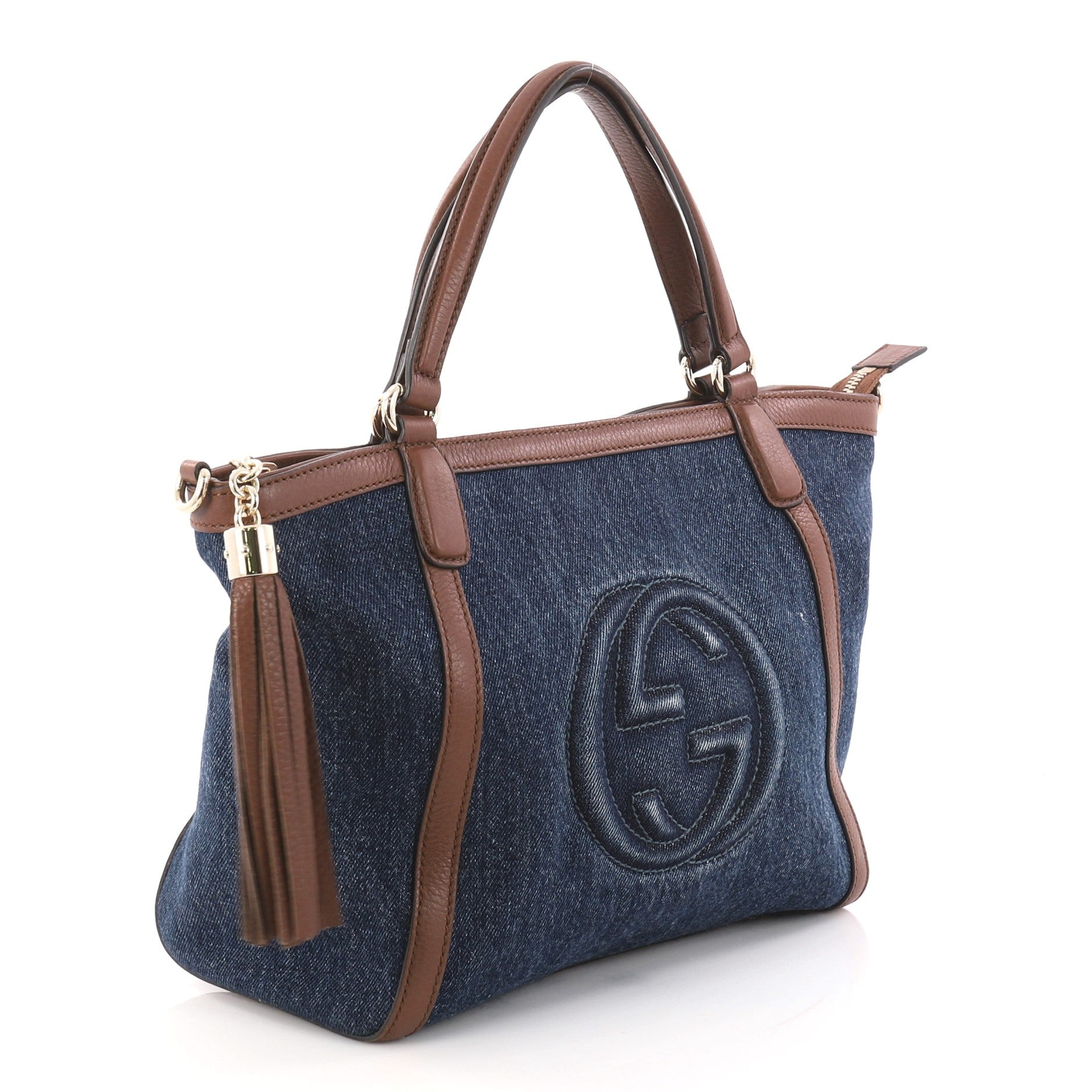 5b3b9d091def Gucci Soho Convertible Top Handle Bag Denim Small at 1stdibs