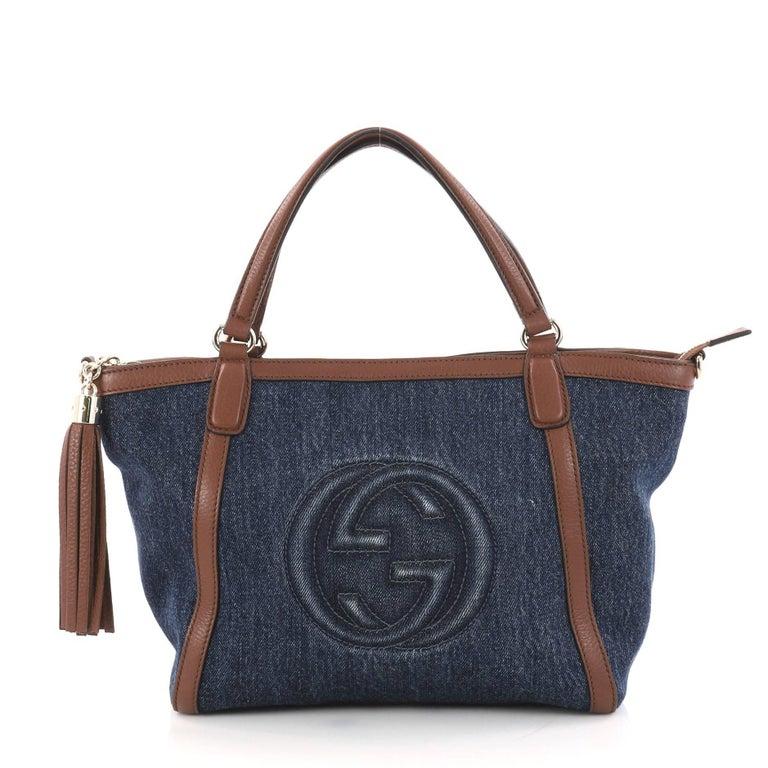 8becd582b Gucci Soho Convertible Top Handle Bag Denim Small at 1stdibs