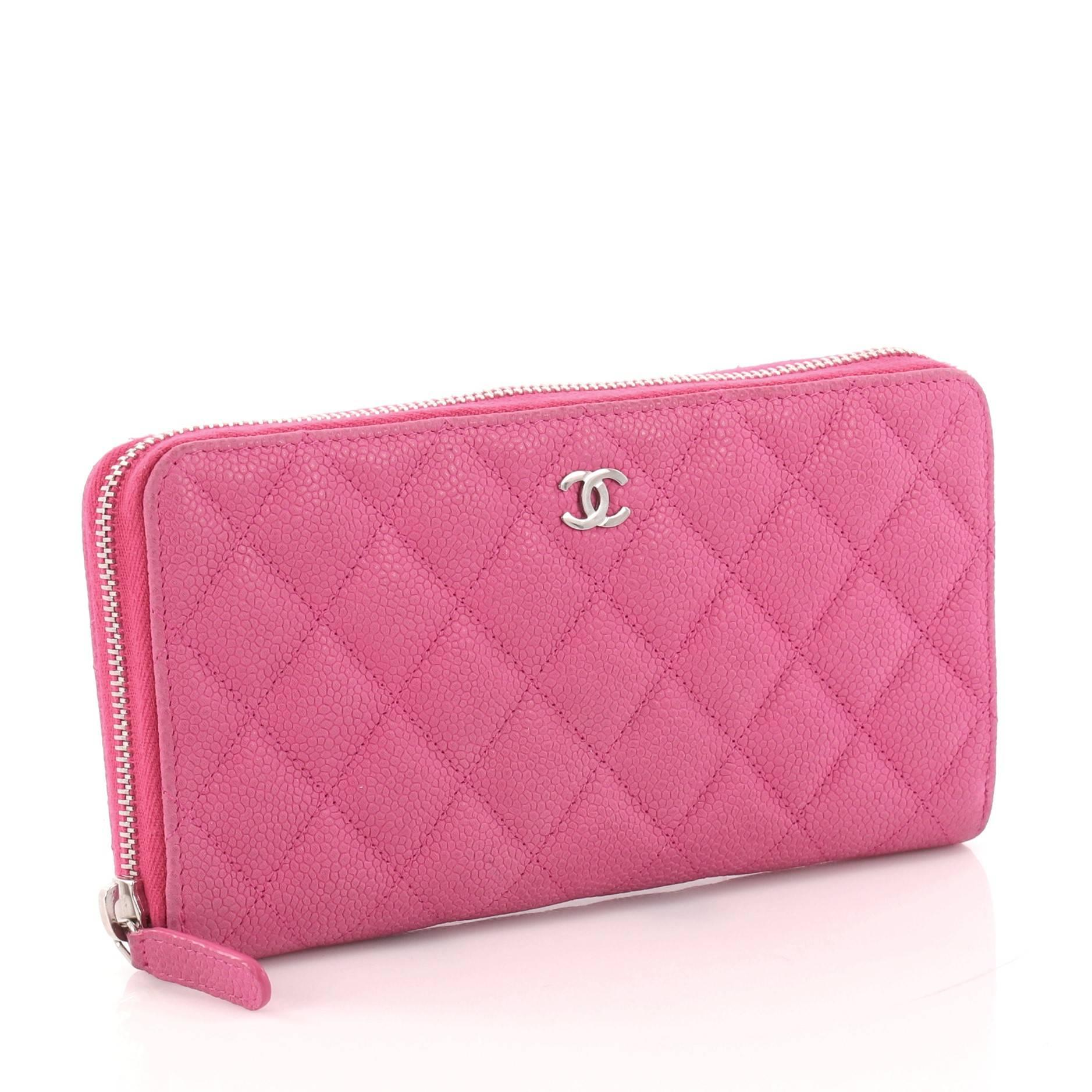 5f46b53f39a756 Chanel Zip Around Wallet Quilted Caviar Long at 1stdibs