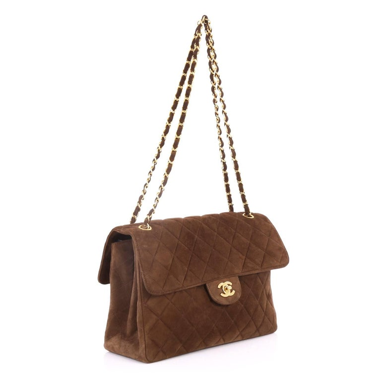 19fe9990f72ad9 Brown Chanel Vintage Double Sided Flap Bag Quilted Suede Jumbo For Sale