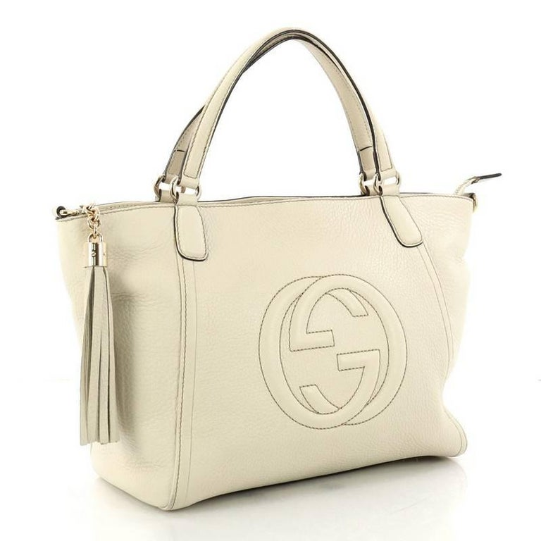 e727939f8fd4 Beige Gucci Soho Convertible Top Handle Bag Leather Small For Sale