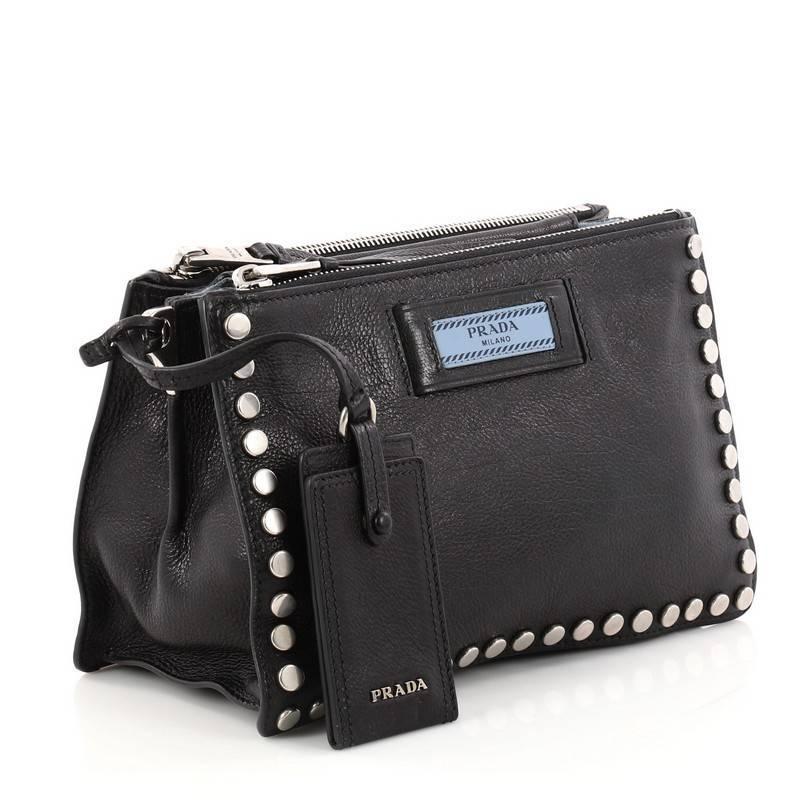 1b34807ddd19 ... authentic black prada etiquette crossbody bag studded glace calfskin  small for sale 25cfb 6fe38
