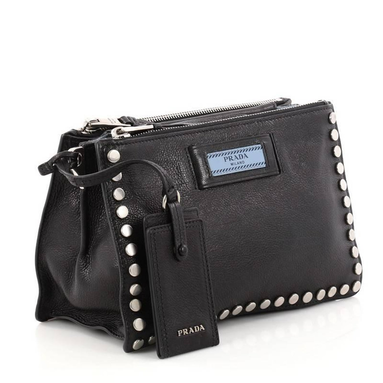 ebd3158030ef88 Prada Etiquette Crossbody Bag Studded Glace Calfskin Small at 1stdibs