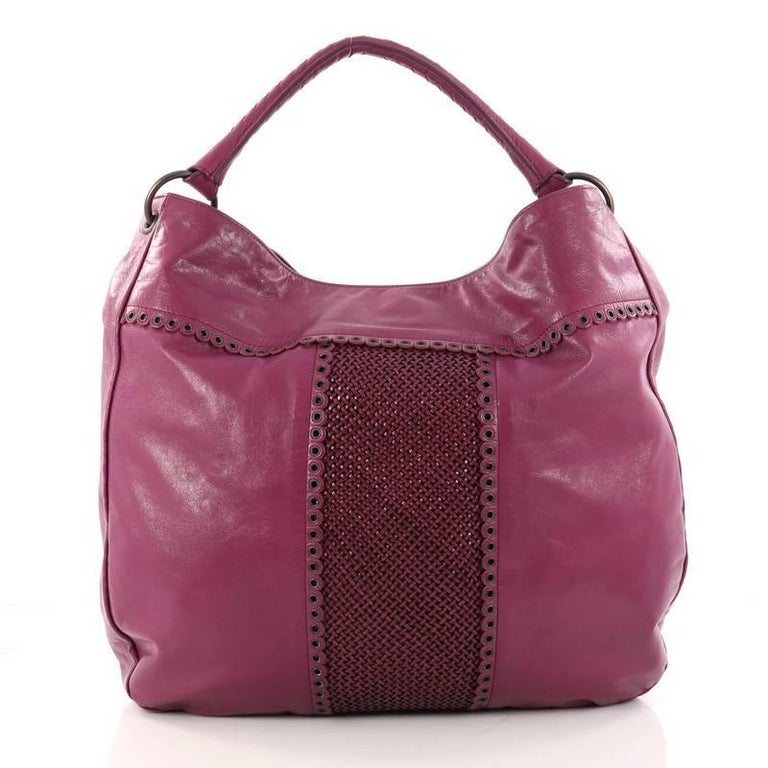 Bottega Veneta Hobo Leather with Grommet Detail Large In Good Condition For Sale In New York, NY