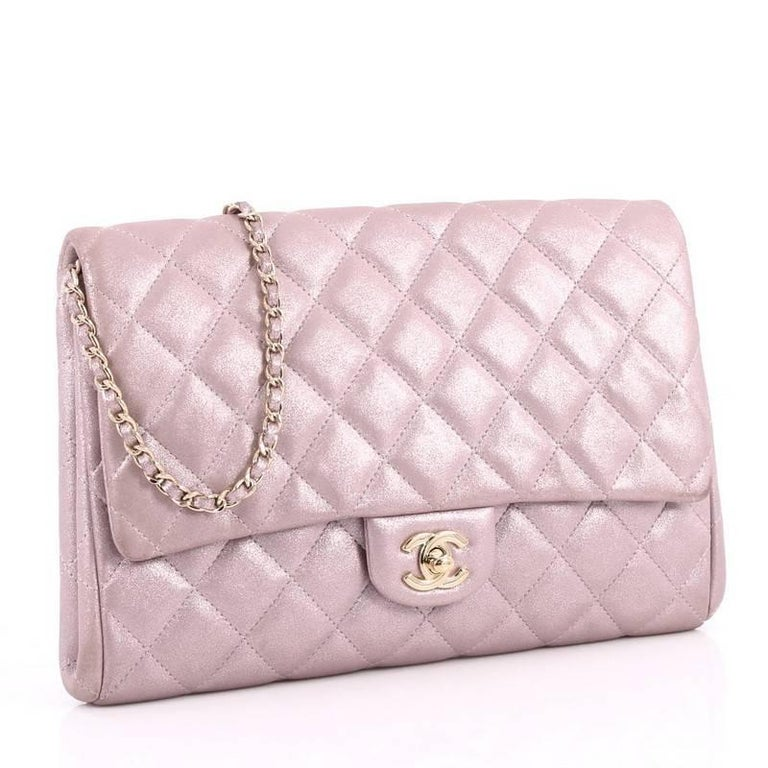 130ac7530849fb Beige Chanel Clutch with Chain Quilted Pearlescent Calfskin For Sale