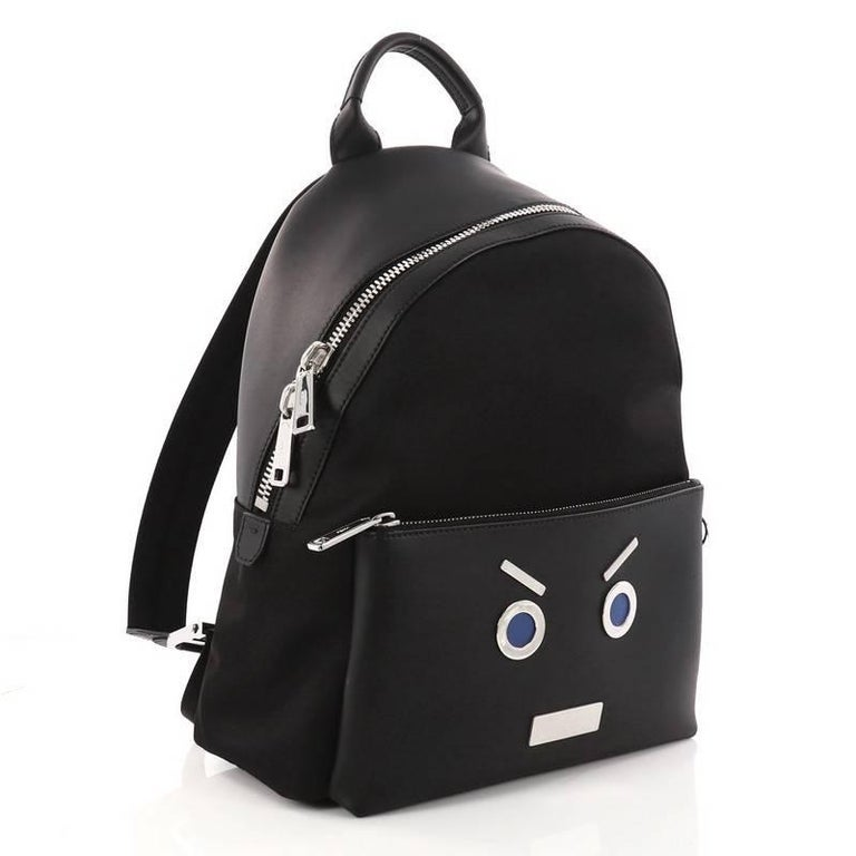 Black Fendi Faces Backpack Nylon and Leather  For Sale