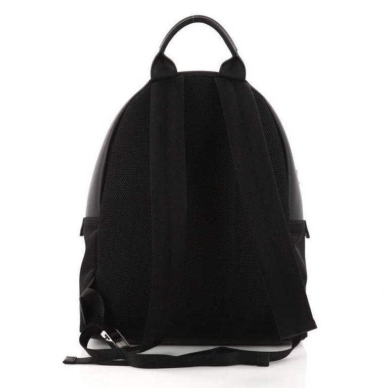 Fendi Faces Backpack Nylon and Leather  In Excellent Condition For Sale In New York, NY