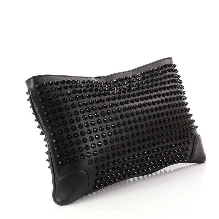 b78988f2548a Black Christian Louboutin Loubiposh Clutch Spiked Leather For Sale