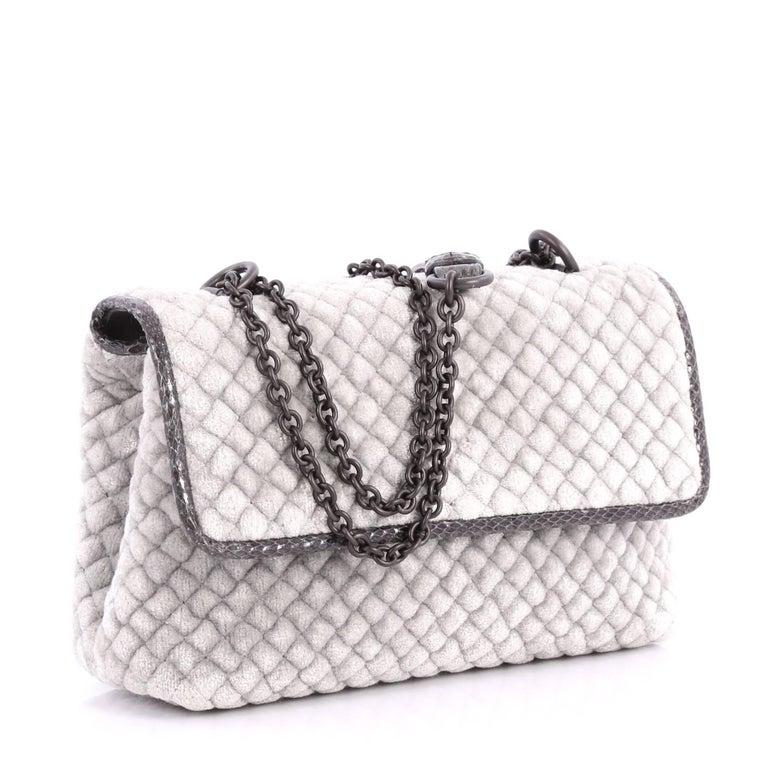 Gray Bottega Veneta Olimpia Crossbody Bag Intrecciato Velvet Baby  For Sale