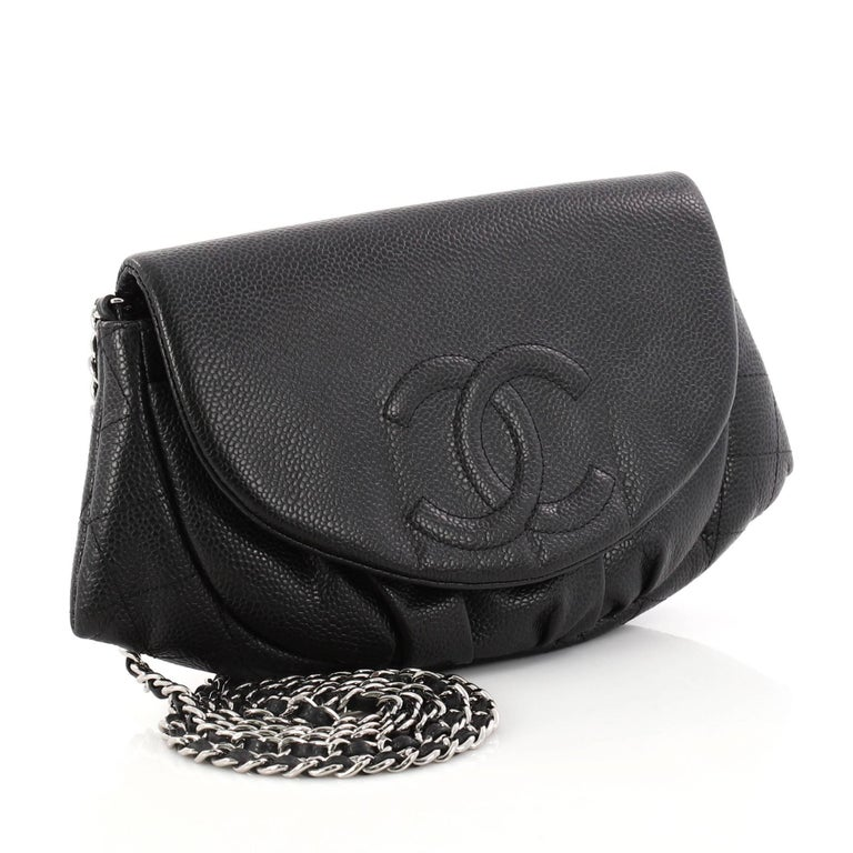 Black Chanel Half Moon Wallet On Chain Caviar For