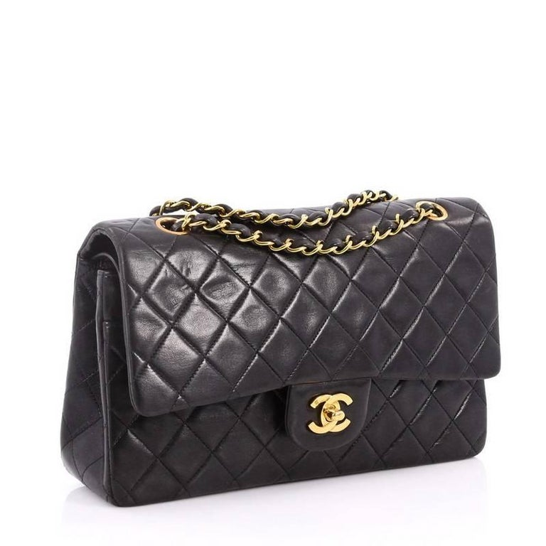 9c670f0706f8 Black Chanel Vintage Classic Double Flap Bag Quilted Lambskin Medium For  Sale