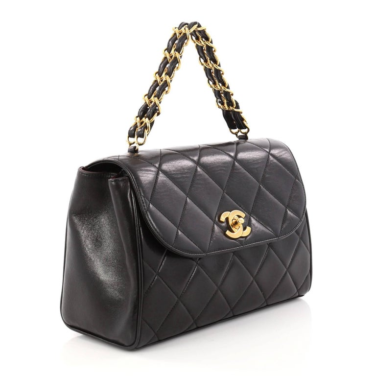 ca877faf22b5aa Black Chanel Vintage Square Chain Handle Flap Bag Quilted Lambskin Mini For  Sale