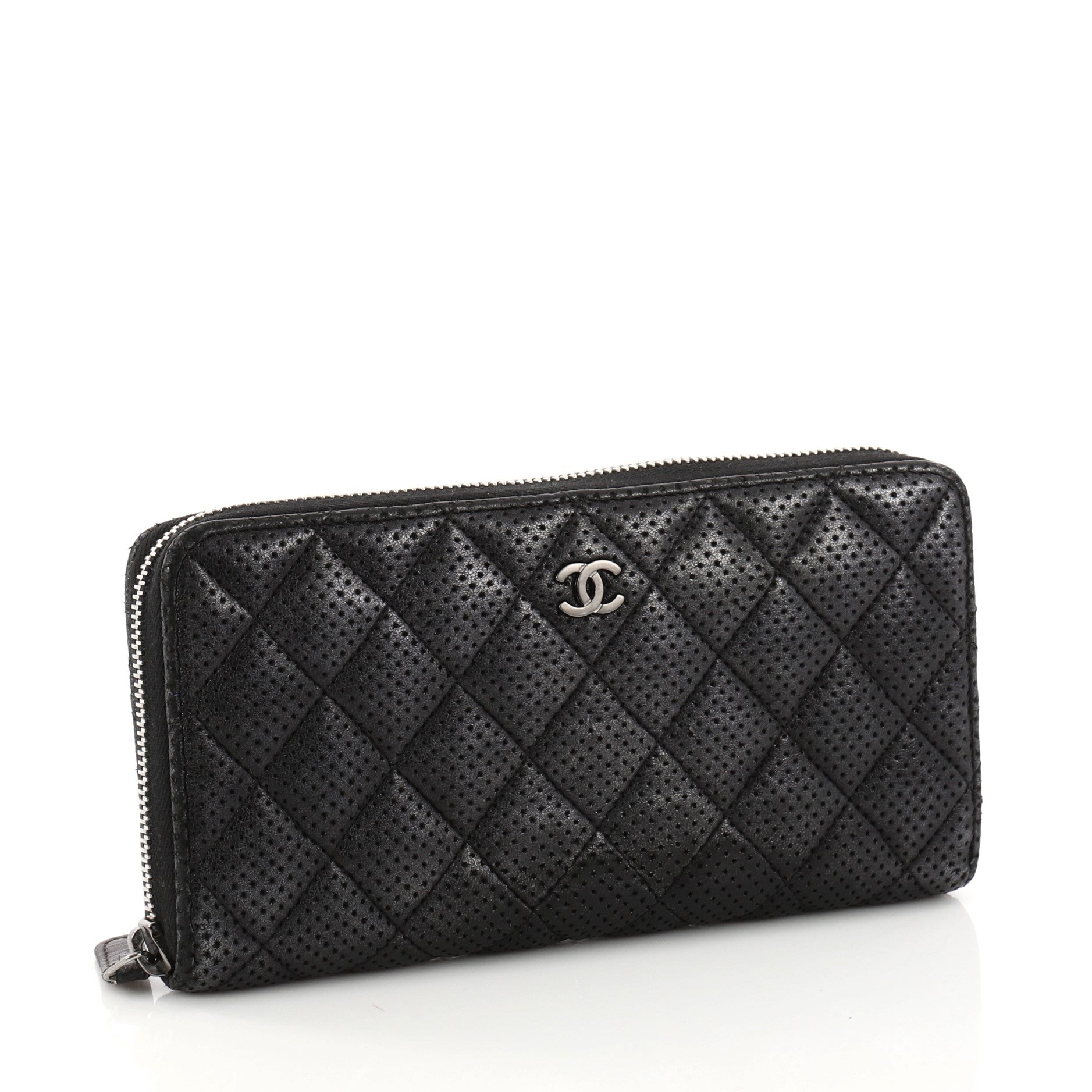 043ff3283cf4b7 Chanel Zip Around Wallet Quilted Perforated Leather Long At 1stdibs. Chanel  Boy Quilted Medium Zip Around Wallet Black