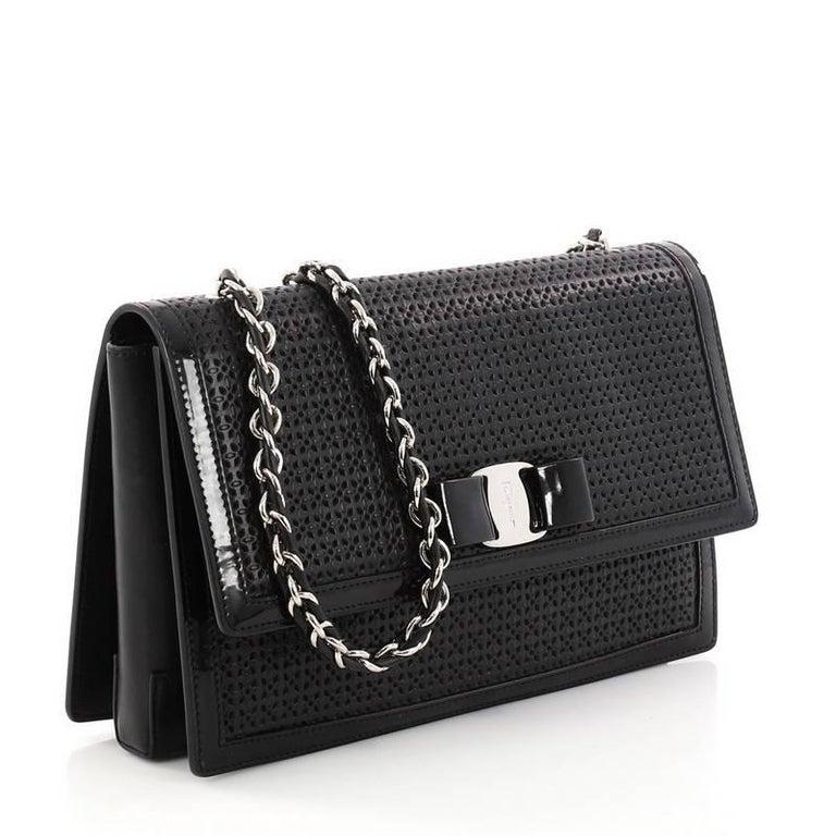 e9345bf916 Black Salvatore Ferragamo Ginny Crossbody Bag Laser Cut Leather Medium For  Sale