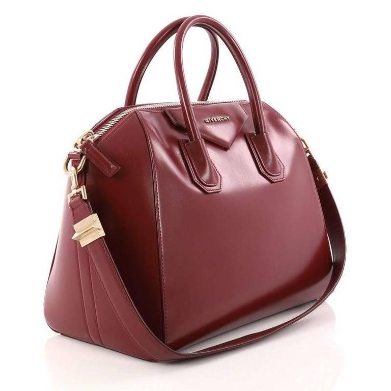 Brown Givenchy Antigona Bag Glazed Leather Medium For